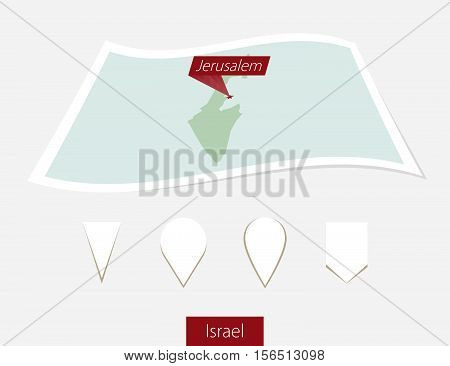 Curved Paper Map Of Israel With Capital Jerusalem On Gray Background. Four Different Map Pin Set.