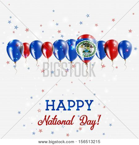 Belize Independence Day Sparkling Patriotic Poster. Happy Independence Day Card With Belize Flags, C