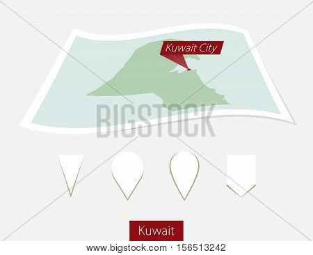 Curved Paper Map Of Kuwait With Capital Kuwait City On Gray Background. Four Different Map Pin Set.