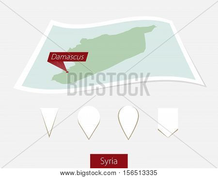 Curved Paper Map Of Syria With Capital Damascus On Gray Background. Four Different Map Pin Set.