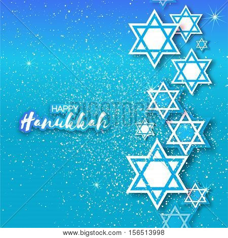 Happy Hanukkah with origami Magen David stars. Papercraft jewish holiday simbol on blue background. Vector design illustration
