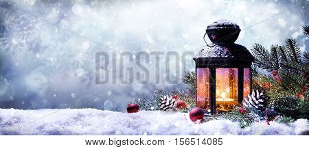 Lantern With Fir Branches On Snow - Christmas Card