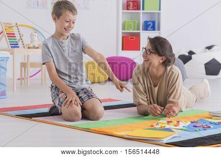 Babysitter And Happy School-boy