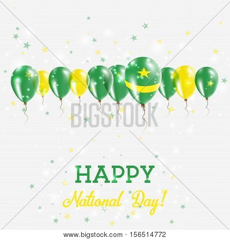 Mauritania Independence Day Sparkling Patriotic Poster. Happy Independence Day Card With Mauritania