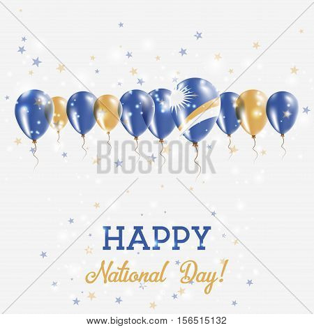 Marshall Islands Independence Day Sparkling Patriotic Poster. Happy Independence Day Card With Marsh