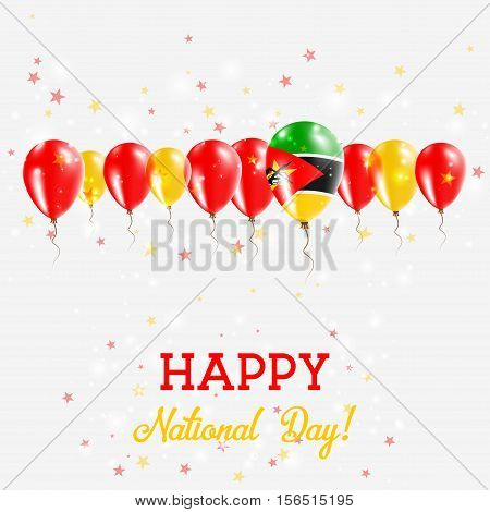 Mozambique Independence Day Sparkling Patriotic Poster. Happy Independence Day Card With Mozambique