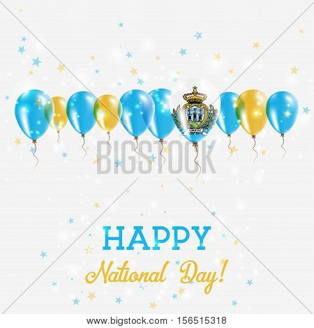 San Marino Independence Day Sparkling Patriotic Poster. Happy Independence Day Card With San Marino