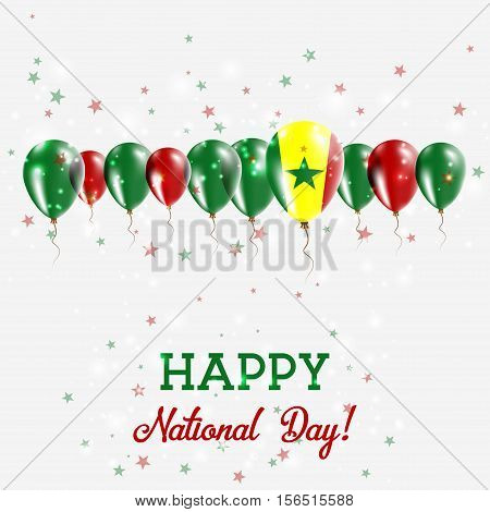 Senegal Independence Day Sparkling Patriotic Poster. Happy Independence Day Card With Senegal Flags,
