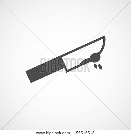 Vector flat black knife icon. Isolated bloody knife icon for logo web site design app UI. Flat crime illustration for posters cards book cover flyers banner web game designs.