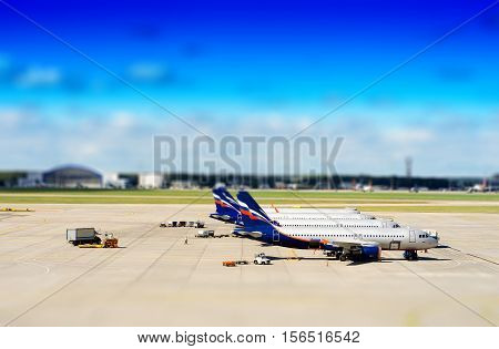 Russian jets on airfield tilt shift background hd