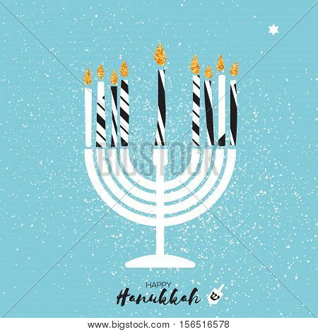 Cute Happy Hanukkah Greeting card with gold glitter elements on blue background. Jewish holiday with menorah - traditional Candelabra, candles and dreidels - spinning top. Vector design illustration