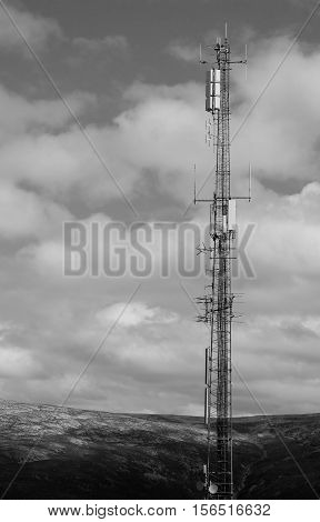Vertical black and white Norway meteorological tower background hd