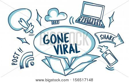 Social Media Viral Ideas Outside Box Sketch Concept