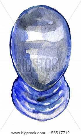 watercolor sketch of fencing mask on white background