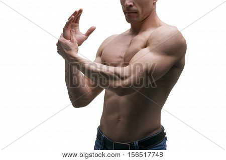 Muscular middle-aged man posing on white background isolated studio shot perfect male body