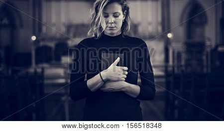 Woman Standing Church Religion Concept