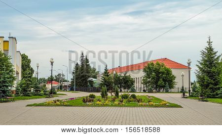 Village Tomarovka Belgorod region. Russian province. Typical provincial land improvement Russian countryside and small towns.