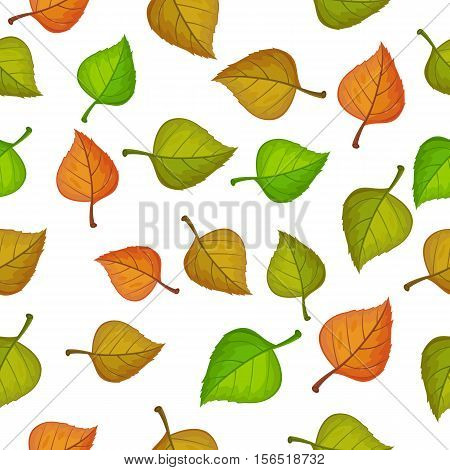 Leaves vector seamless pattern. Flat style illustration. Falling color tree leaves on white background. Autumn defoliation. For wrapping paper, greeting card, invitation, printing materials design