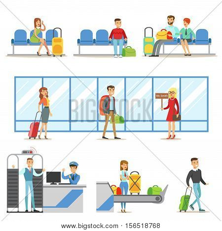 People In The Airport Interior, Passing Security Procedures, Waiting For The Flight And Arriving To Destination. Part Of Air Travel And Travelers In The Airport Set Of Cartoon Colorful Vector Illustrations