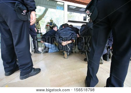 ISTANBUL, TURKEY - MAY 1: The demonstrators who are against to prohibition of 1 May celebration were arrested by the police on May 1,2007 in Istanbul,Turkey