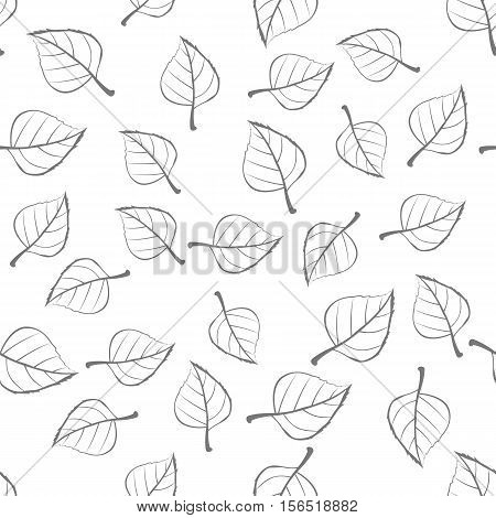 Leaves vector seamless pattern. Flat style illustration. Falling colorless tree leaves on white background. Autumn defoliation. For wrapping paper, greeting card, invitation, printing materials design