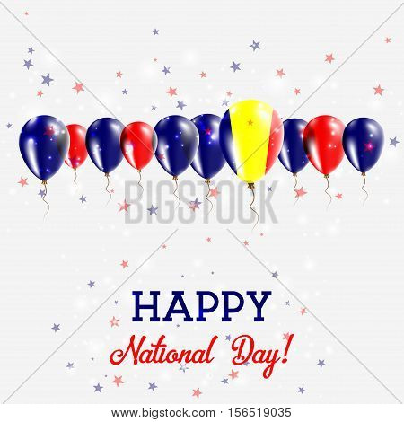Chad Independence Day Sparkling Patriotic Poster. Happy Independence Day Card With Chad Flags, Confe
