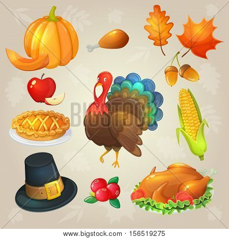 Set of Thanksgiving icons. Colorful illustration of Thanksgiving day items. Traditional Thanksgiving food leaves and turkey. Thanksgiving Day background for decoration. Vector.