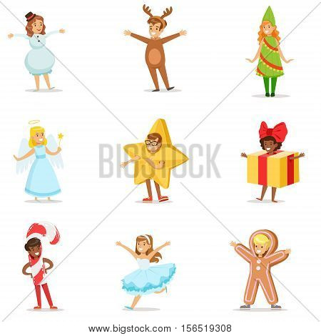 Children Dressed As Winter Holidays Symbols For The Costume Christmas Carnival Party. Happy Kids In Their Holyday Disguises Set Of Vector Cartoon Illustrations.