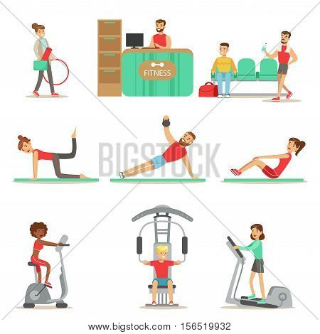 People Member Of The Fitness Class Working Out, Exercising With And Without Sport Simulators, Training In Trendy Sportswear. Healthy Lifestyle And Fitness Set Of Illustrations With Men And Women Visiting Gym.