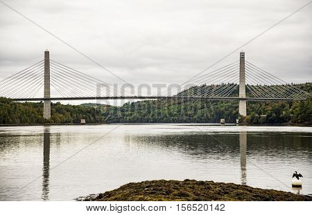 Penobscot Narrows Bridge in North of Maine USA