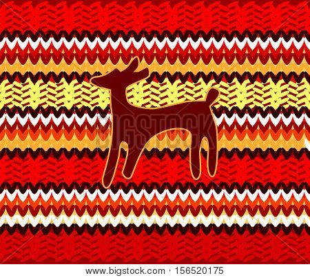 Seamless vector background with the silhouette of deer.