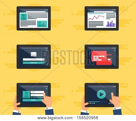 Web Template for site forms of email subscribe login to account watching video online shopping blog and infographics on tablet. Vector