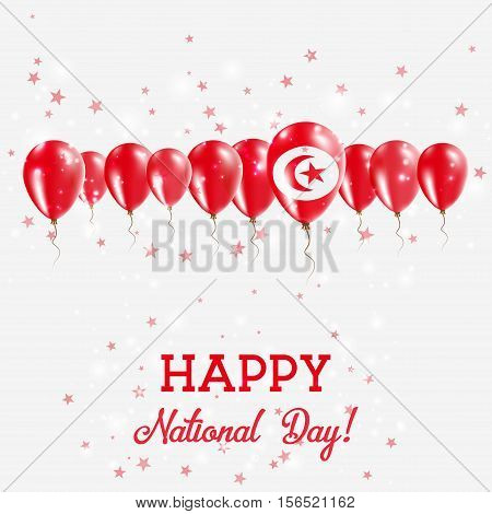 Tunisia Independence Day Sparkling Patriotic Poster. Happy Independence Day Card With Tunisia Flags,