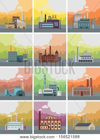 Set of factory building banners. Factory building with pipes on urban landscape. Industrial plant with pipes. Plant with smoking chimneys. Ecological production, air pollution concept. Free space.