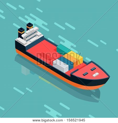 Container or cargo ship sailing in the sea. Multi-purpose vessel. Chemical or product tanker. Custom high speed picker boat. Carries cargo, goods, and materials from one port to another. Vector