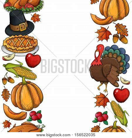 Vertical seamless borders with colorful Thanksgiving icons. Thanksgiving day greeting card. Vintage Thanksgiving food leaves and turkey. Thanksgiving Day background for decoration. Vector.