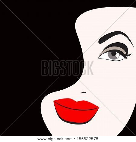 beautiful face. Vector illustration of beauty. Retro pin-up fashion makeup. Logol brunette for beauty salon