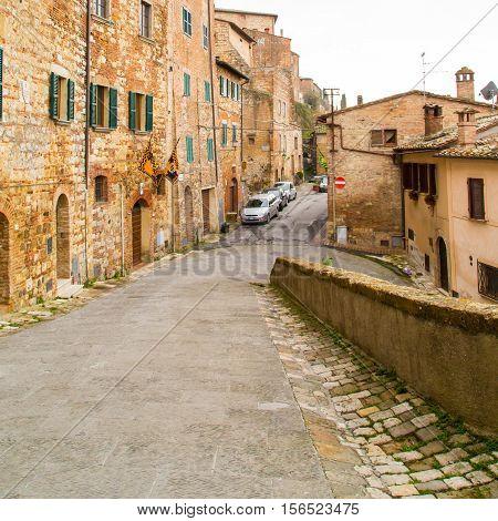 Montepulciano, Italy - November, 15, 2014: Tuscany, street view of medival town Montepulciano at Tuscany,  Italy