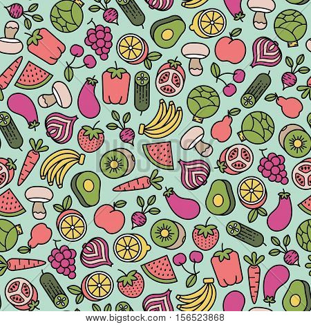 seamless pattern with fruits and vegetables icons