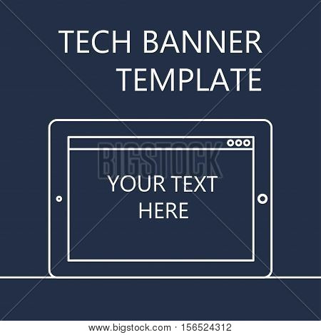 Adaptive Web Template and Gadget Banner with Pad. Outline minimalistic tablet mockups. Vector