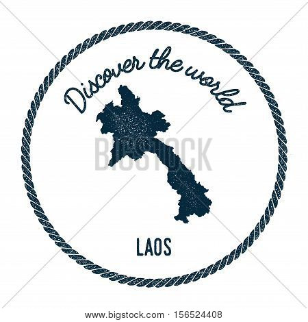 Vintage Discover The World Rubber Stamp With Lao People's Democratic Republic Map. Hipster Style Nau
