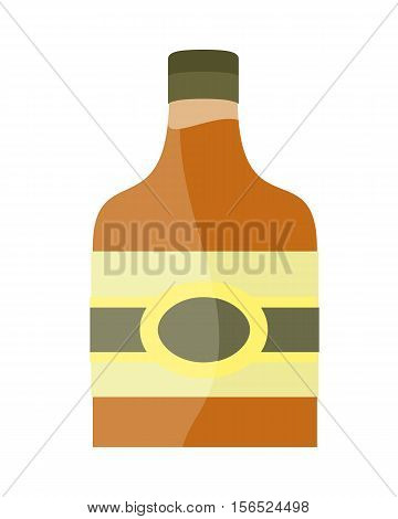 Bottle with alcohol vector in flat style. liqueur, brandy whiskey, cognac illustration for beverages concepts, grocery store advertising, icons, infograqphic element. Isolated on white background.