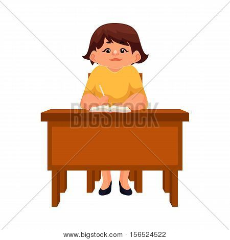 Chubby school girl sitting at the desk, listening and writing, cartoon style vector illustration isolated on white background. Serious teenage girl writing at the school desk
