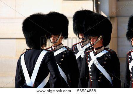 Copenhagen aug 16. 2016 - The Royal Guard in Copenhagen Denmark marching