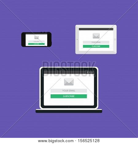 Adaptive Web Template and Gadget Elements for site form of email subscribe, newsletter on Smartphone, Tablet, Notebook. Flat minimalistic pad, phone, laptop mockups. Vector