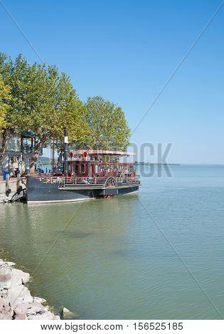 Pier and Promenade of Keszthely at Lake Balaton, Hungary