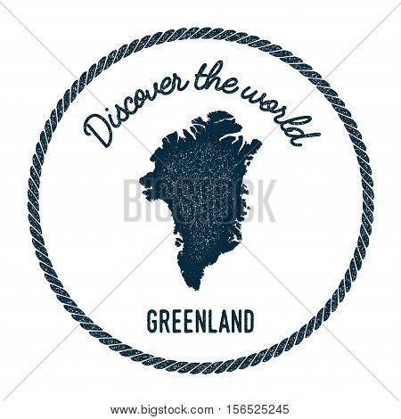 Vintage Discover The World Rubber Stamp With Greenland Map. Hipster Style Nautical Postage Stamp, Wi
