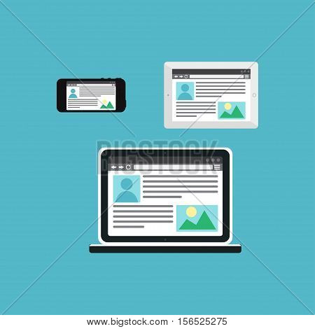 Adaptive Web Phone Template and Gadget Elements for site of blog and infographics on Smartphone, Tablet, Notebook. Outline minimalistic pad, phone, laptop mockups. Vector