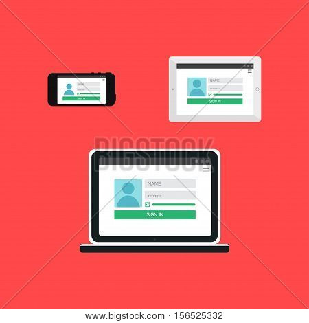 Adaptive Web Template and Gadget Elements for site form of login to account on Smartphone, Tablet, Notebook. Flat minimalistic pad, phone, laptop mockups. Vector