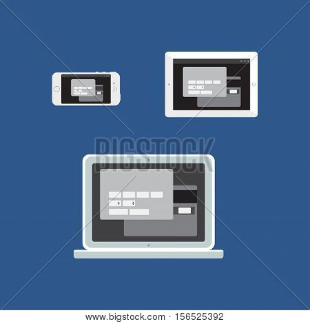 Adaptive Web Template and Gadget Elements for site form of online shopping and enter card data on Smartphone, Tablet, Notebook. Flat minimalistic pad, phone, laptop mockups. Vector